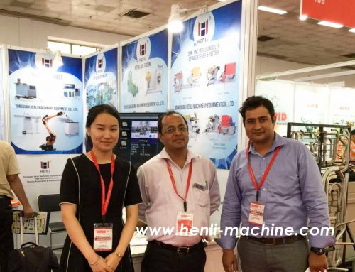 Hot products of 4 axis press to press robotic arm at our booth during Amtex Fair