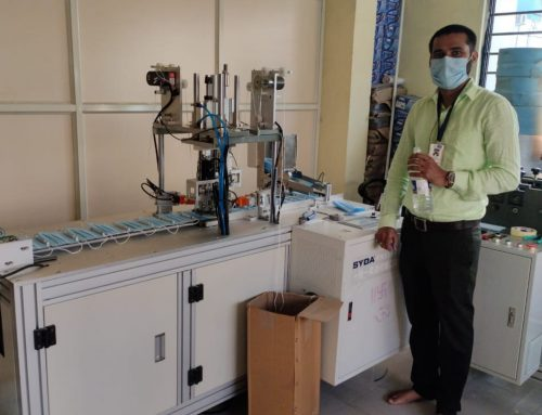 Indian customer started production with our automatic earloop welding machine